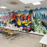 Wandgestaltung Walldesign Interior design Graffiti für Coca Cola von BOMBER, CANTWO & DAIM für Oxygen in der Abfüllung Dorsten bei Essen 1996 © BOMBER CANTWO DAIM