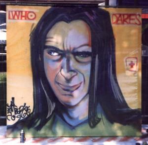 Live entstandenes Portrait des Stilewritingkings DARE aka Sigi von Koeding (R.I.P.) in Luzern, 1996., ca. 150 x 150 cm