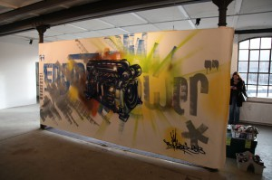 Engine Power, VDMA/Cimac, Spraycan and acryl on canvas, ca. 350 cm x 180 cm, 2013