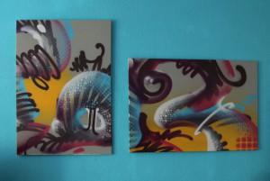 B-und-R, jeweils ca. 60 x 80 cm, Spraycan on canvas, Sprühdose auf Leinwand, 2013