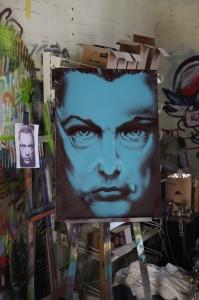 Portrait Udo Kier, Sprühdose auf Leinwand, spraycan on canvas, 70 x 100 cm, 2013