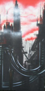 city of dawn, 50 x 160 cm, 2008, Spraycan and acrylic on wood