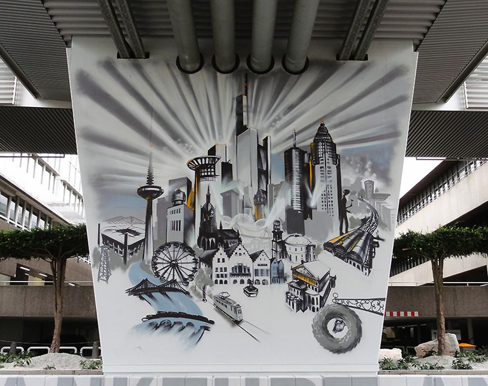 Pfeiler/ pillar Frankfurt Skyline, Terminal 1 Flughafen Frankfurt/International Airport Frankfurt, 7, 5 x 8 m, 2015.