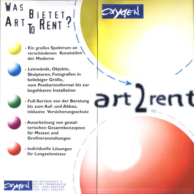 Oxygen the art agency Klappflyer Art 2 rent 1995/1996
