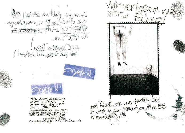 Oxygen the art agency Umzugsflyer 1996