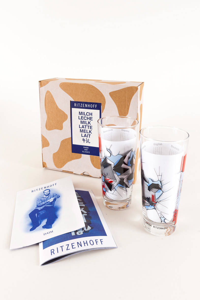 "DAIM | ""3D-Milk"" 61/22472 | Ritzenhoff Milk Graffiti Collection Spring 1997 | Limited Edition Box with two glasses, artist and Ritzenhoff info booklet"