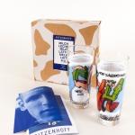 "Scum | ""Tanz der Typen"" 65/22476 | Ritzenhoff Milk Graffiti Collection Spring 1997 | Limited Edition Box with two glasses, artist and Ritzenhoff info booklet"